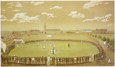 Cricket Drawing - 'the Old Days Of Merry Cricket  Club by Mary Evans Picture Library