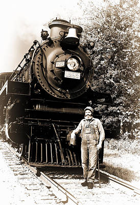 Train Photograph - The Old Engineer by Marcia Colelli