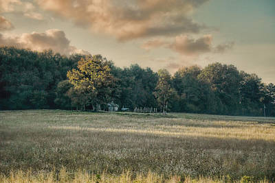 The Old Farm At Sunrise - Country Scene Art Print by Jai Johnson