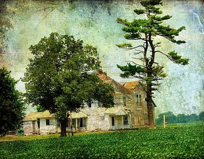 Iowa Digital Art - The Old Farm House by Cassie Peters