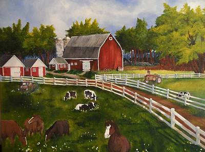 Old Barn Painting - The Old Farm by Tim Loughner