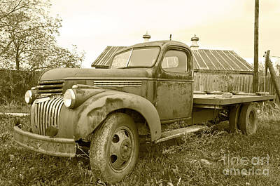 The Old Farm Truck Art Print by John Debar