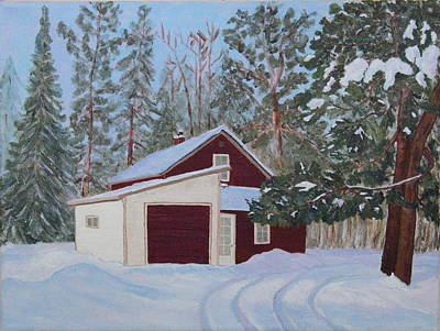 The Old Farmhouse In Winter Original by Ann Laase Bailey