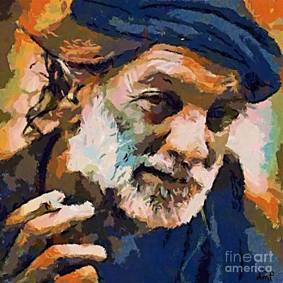 Man Painting - The Old Fisherman by Dragica  Micki Fortuna