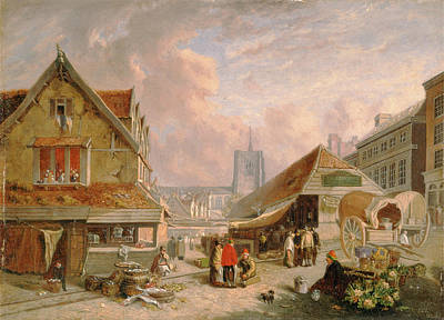 Rights Painting - The Old Fishmarket, Norwich Signed And Dated by Litz Collection