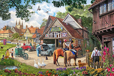 Cats And Dogs Painting - The Old Garage by Steve Crisp
