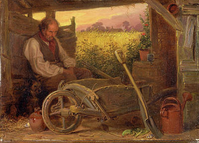 Briton Riviere Painting - The Old Gardener Signed And Dated, Lower Right Br 1863 by Litz Collection