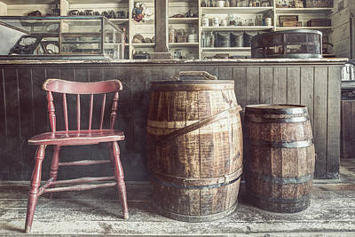 The Old General Store - Red Chair And Barrels In This 19th Century Store Art Print by Gary Heller