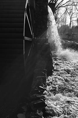Wayside Inn Photograph - The Old Grist Mill - Black And White by Luke Moore