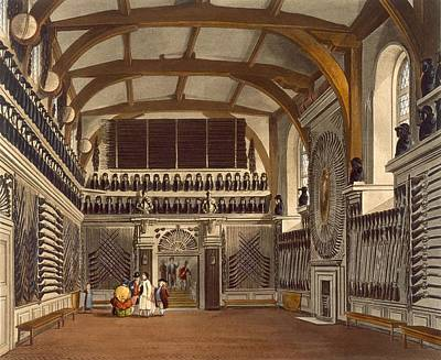 Beam Drawing - The Old Guard Chamber, The Round Tower by James Stephanoff