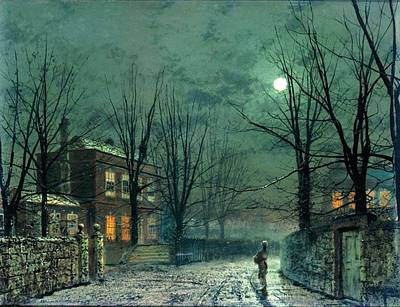 Silver Moonlight Painting - The Old Hall Under Moonlight by John Atkinson Grimshaw