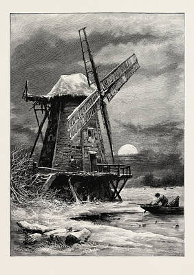 Hamptons Drawing - The Old Hampton Windmill, Scenery Of The Thames by English School