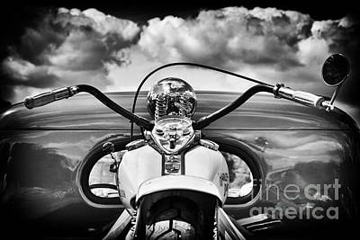 Handlebar Photograph - The Old Harley Monochrome by Tim Gainey
