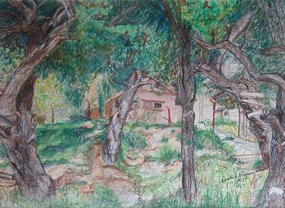 Drawing - The Old House On The Hill In Talpiot Jerusalem  by Esther Newman-Cohen