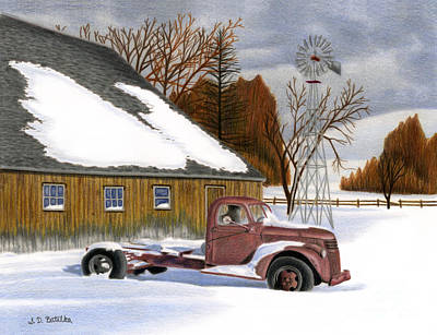 Winter Landscapes Drawing - The Old Jalopy by Sarah Batalka