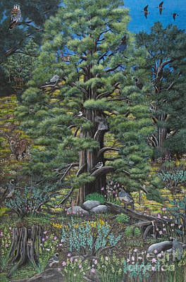 Canadian Geese Painting - The Old Juniper Tree by Jennifer Lake