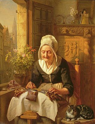 Old Age Painting - The Old Lacemaker by JL Dyckmans