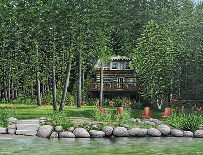 Mist Painting - The Old Lawg Caybun On Lake Joe by Kenneth M  Kirsch