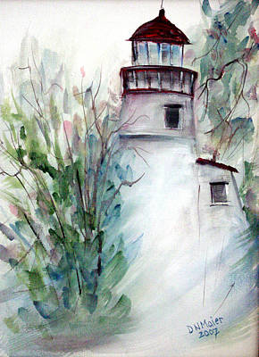 Art Print featuring the painting The Old Lighthouse by Dorothy Maier