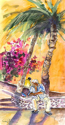 Town Square Drawing - The Old Man And The Bird by Miki De Goodaboom