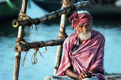India Wall Art - Photograph - The Old Man And The Ganges by Piet Flour