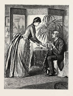 The Old Man And The Lady Art Print by Du Maurier, George L. (1834-97), English
