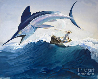 Reeling Painting - The Old Man And The Sea by Harry G Seabright