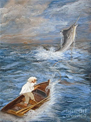 Old Man Fishing Painting - The Old Man And The Sea by Sharon Burger