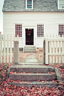 Cedar Fence Photograph - The Old Meeting House Canterbury Shaker Village by Edward Fielding