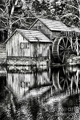 The Old Mill Black And White Art Print