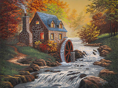 Grist Mill Painting - The Old Mill by Gary Adams