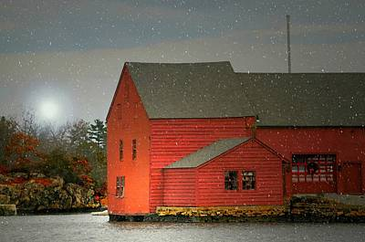 Red Barn In Winter Photograph - The Old Mill Kirby Pond by Diana Angstadt