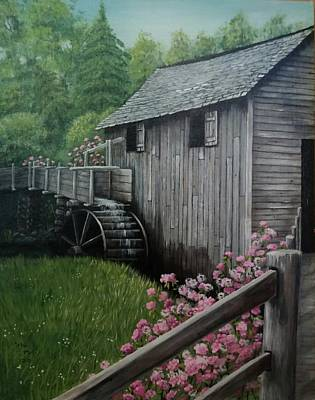 Smokey Mountains Painting - The Old Mill by Sherry Cooper