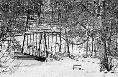 The Old Ninabuck And Scofield Bridge - Black And White No. 2 Art Print