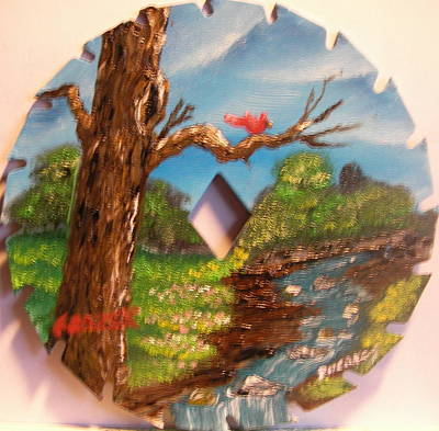 Saw Blades Painting - The Old Oak River Tree by Ken Frazer