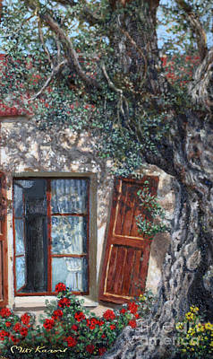 The Old Olive Tree And The Old House Art Print by Miki Karni