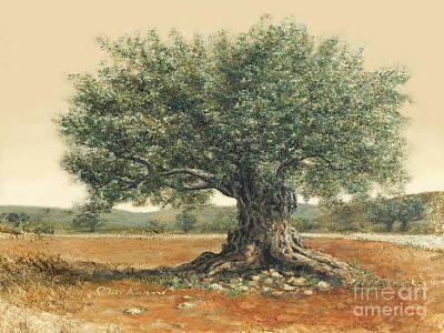 Painting - The  Old Olive Tree. By Miki Karni by Miki Karni
