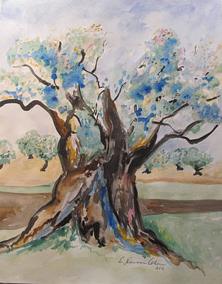 The Old Olive Tree Art Print by Esther Newman-Cohen