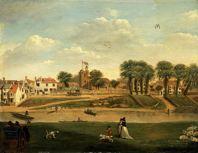Old Church Painting - The Old Parish Church And Village, Hampton-on-thames by Litz Collection
