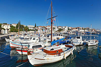 Spetses Photograph - The Old Port In Spetses Island - Greece by Constantinos Iliopoulos