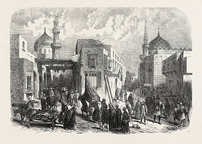 Art Mobile Drawing - The Old Quarter Of Cairo During The Prevalence Of Cholera by Egyptian School