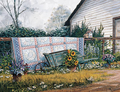 Sunflower Painting - The Old Quilt by Michael Humphries