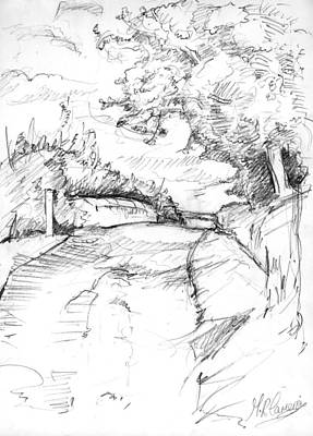Country Schools Drawing - The Old Railway Bridge by Maxine Cameron
