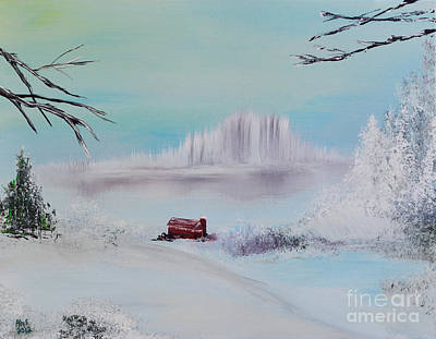 The Old Red Barn In Winter Art Print by Alys Caviness-Gober
