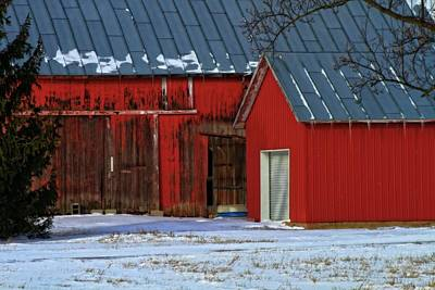 The Old Red Barn In Winter Art Print by Dan Sproul