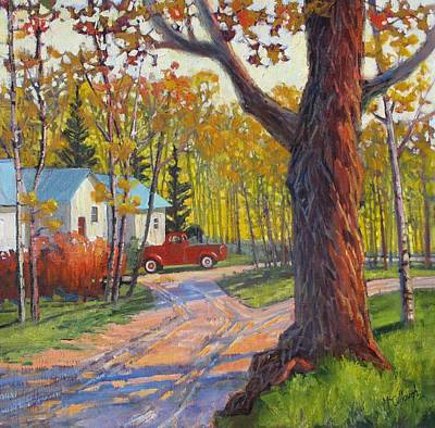 Painting - The Old Red Pickup by Susan McCullough