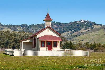 The Old San Simeon Schoolhouse In California With The Famous Hearst Castle In The Background. Art Print by Jamie Pham