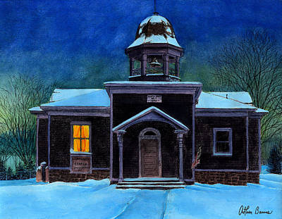 Watercolor Winter Scene Painting - The Old School House by Arthur Barnes