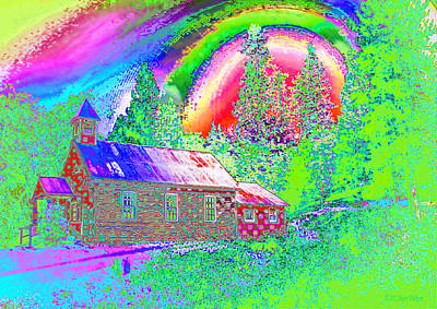 The Old Schoolhouse Library Again Art Print by Joyce Dickens