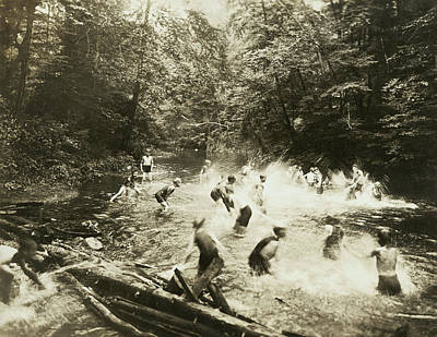 Enjoyment Photograph - The Old Swimming Hole by Underwood Archives
